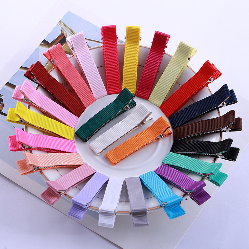 20pcs/lot 5cm Colorful Fabric Hair Clip Base Kids Hairpin Accessories Ribbed Webbing Hairclips Setting For Diy Jewelry Making