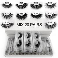 Wholesale 3D eyelashes 20/30/40/50/100 pairs fluffy wispy false lashes eyelash extension makeup mink cilios Maquiagem faux cils