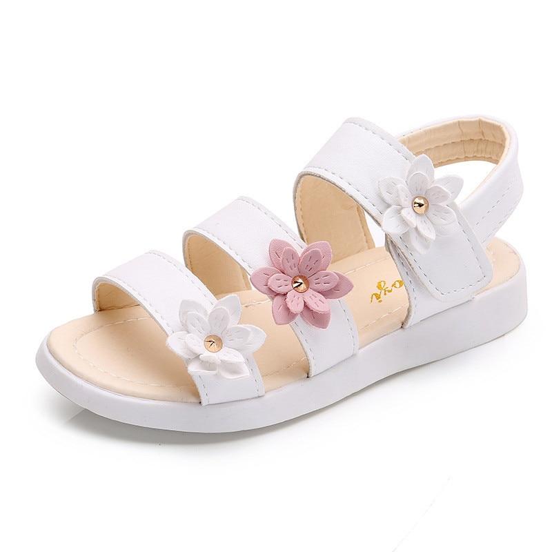 Girls Sandals Gladiator Flowers Sweet Soft Children's Beach Shoes Kids Summer Floral Sandals Princess Fashion Cute High Quality