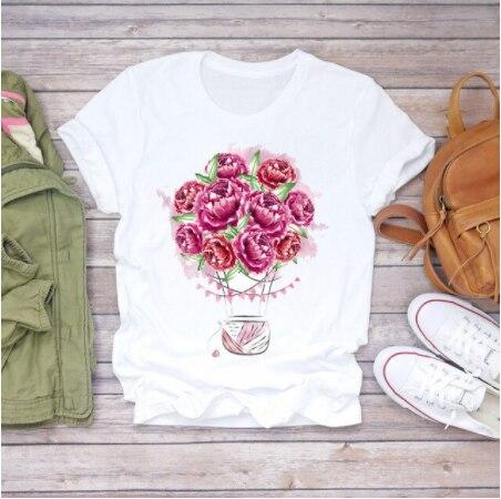 Vrouwen T-shirt Zomer T-shirt Korte Mouw Bloemen Bloem Harajuku Mode T-shirts Tops Dames Vintage Esthetische Grafische Tee