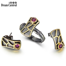 DreamCarnival 1989 New Geometric Fish Scale Earrings and Rings Set For Women Red Zircon Hot Pick Sunday Party Jewelry WE3959S2