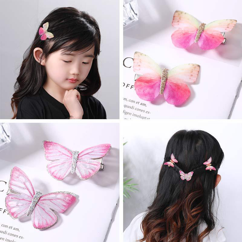 New Baby Children Girls 2 Pcs Sets Hair Pin 9 Colors Sweet Candy Color High Quality Butterfly Grips Fashion Accessories Hairpin