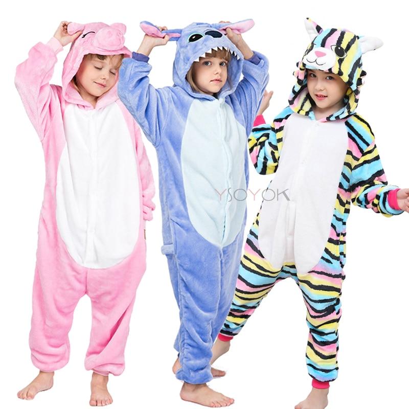 Kigurumi Stitch Onesies For Kids Pajamas Winter Unicorn Sleepwear Children's Pyjamas Kids Boy Girl Cosplay Pijamas Suit Overalls