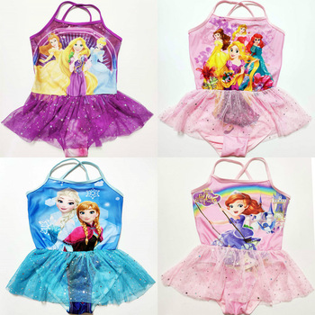 New Girls 3-10Y Swimsuit Elsa & Anna One Piece Children Swimwear Baby Swimsuit Bathing Suit Summer Style For Kids Princess toddler kids swimsuit cute baby girl swimwear one piece with fruit pattern 3 10y girls swimsuit kid children swimming suits