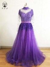 מעצב Vestidos דה Formature גבוהה צווארון חרוזים אבנים כבדות ארוך שרוול קו שמלות נשף