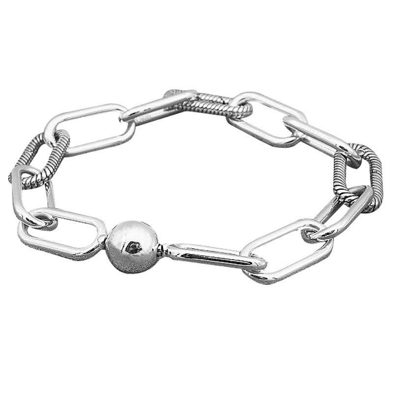 Новинка, 925 пробы, серебряный браслет со змеиным узором, цепочка, Круговая застежка, браслеты, браслет, подходит для женщин, бусины, шарм, сдел