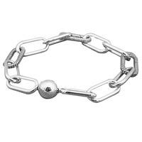 New 925 Sterling Silver Bracelet Me Link Snake Chain Pattern Circular Clasp Bracelets Bangle Fit Women Bead Charm Diy Jewelry