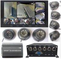 Sistema de visión redonda AVM, 7 cámaras, 3D, autobús, camión, lanzadera escolar, 360 grados, Ojo de pájaro, DVR, con monitoreo interno