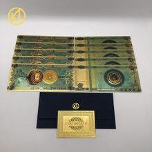 10 pçs/lote um ou cem bitcoin plástico lembrança banhado a ouro notas cartão de plástico bilhete para diversão coleção