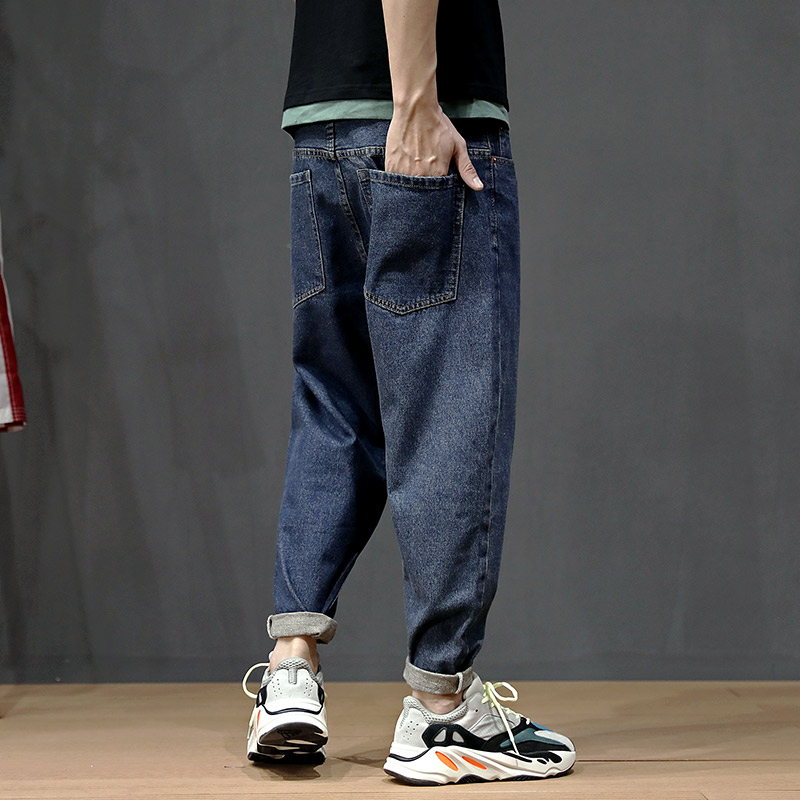 Korean Style Fashion Men Jeans Loose Fit Retro Blue Classical Harem Pants Big Size 28-42 Small Leg Streetwear Hip Hop Jeans Men