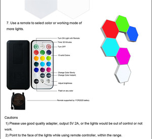 Image 2 - 여러 가지 빛깔의 기하학 Led 육각 패널 양자 램프 터치 민감한 조명 모듈 형 및 이동식 DIY 크리 에이 티브 장식