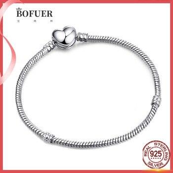 Gran oferta 100% pulsera de plata de ley 925 Fit Original cuentas de diseño encantos brazalete Pandora joyería DIY hacer regalo para las mujeres