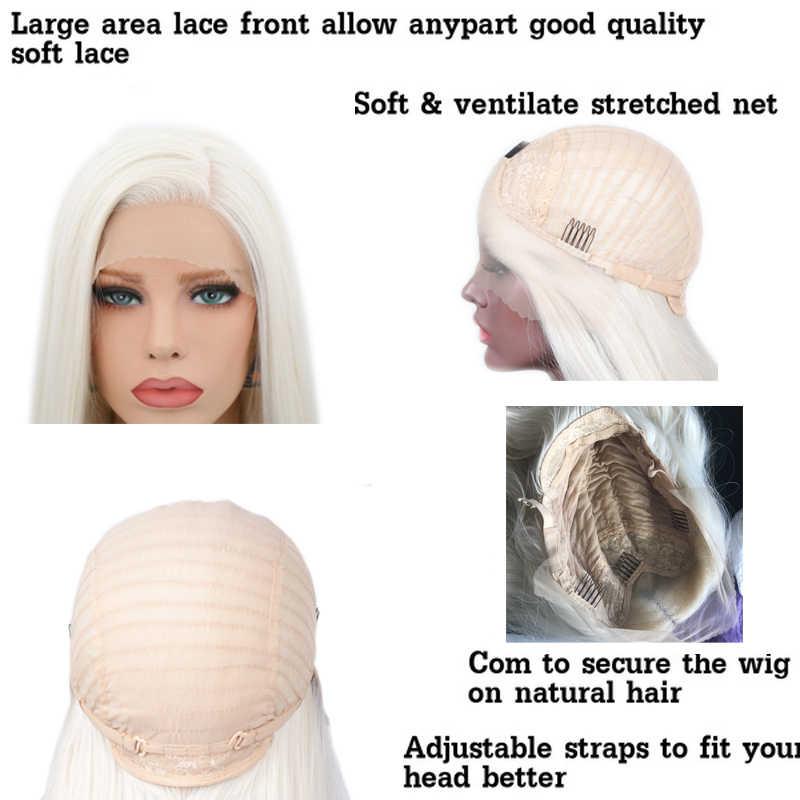 Pelucas frontales de encaje sintético de pelo liso y sedoso carisma #60 pelucas rubias resistentes al calor con pelucas naturales para mujer