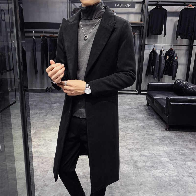 Abrigo largo de lana para hombre, abrigo de lana de estilo