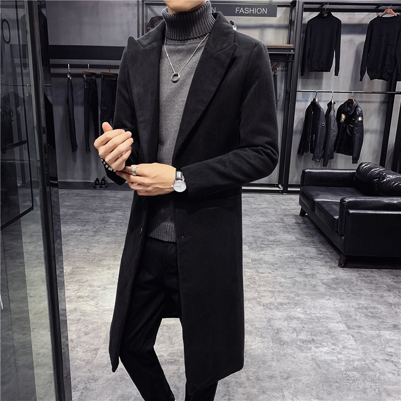 Wool Long Coat Men Korean Style Fashion Woolen Winter CoatsTurn Down Collar Long Wool Coat And Jacket Single Breasted  Overcoat