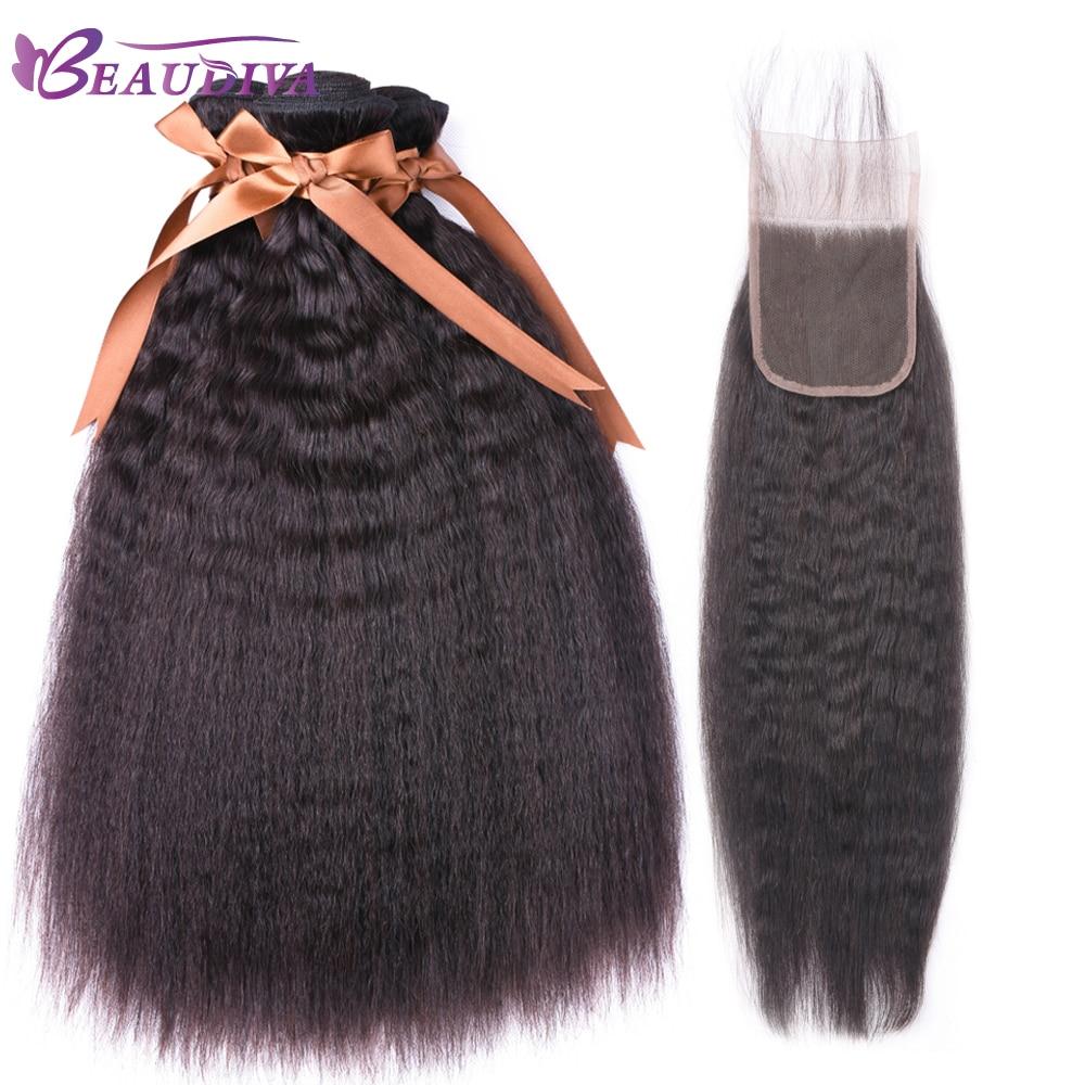 Kinky Straight Bundles With Closure   3 Bundles With Closure Beaudiva  Hair Closure With Bundles 4