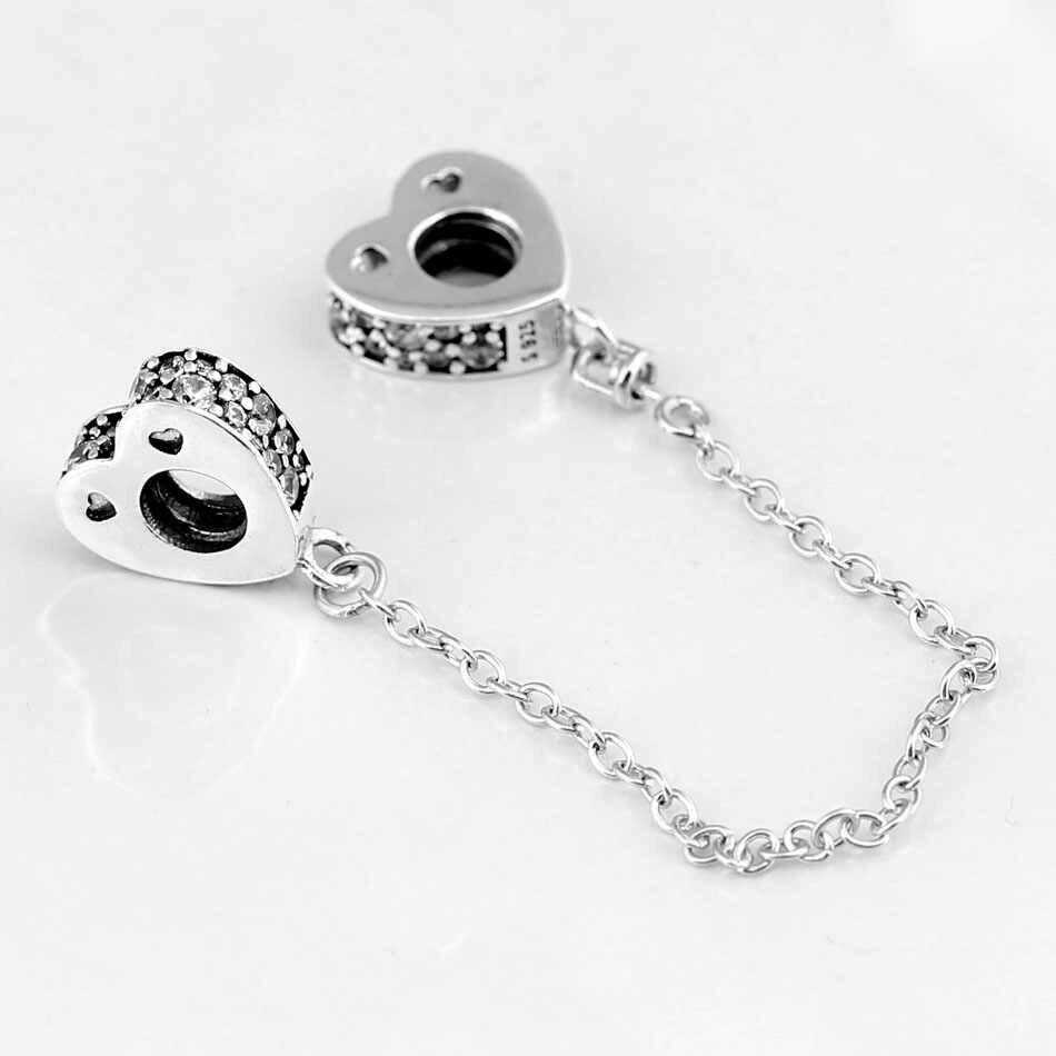 Asli Berkilau Busur Cinta dengan Kristal Rantai Pengaman Bead Cocok 925 Sterling Silver Manik Pesona Pandora Gelang DIY Perhiasan