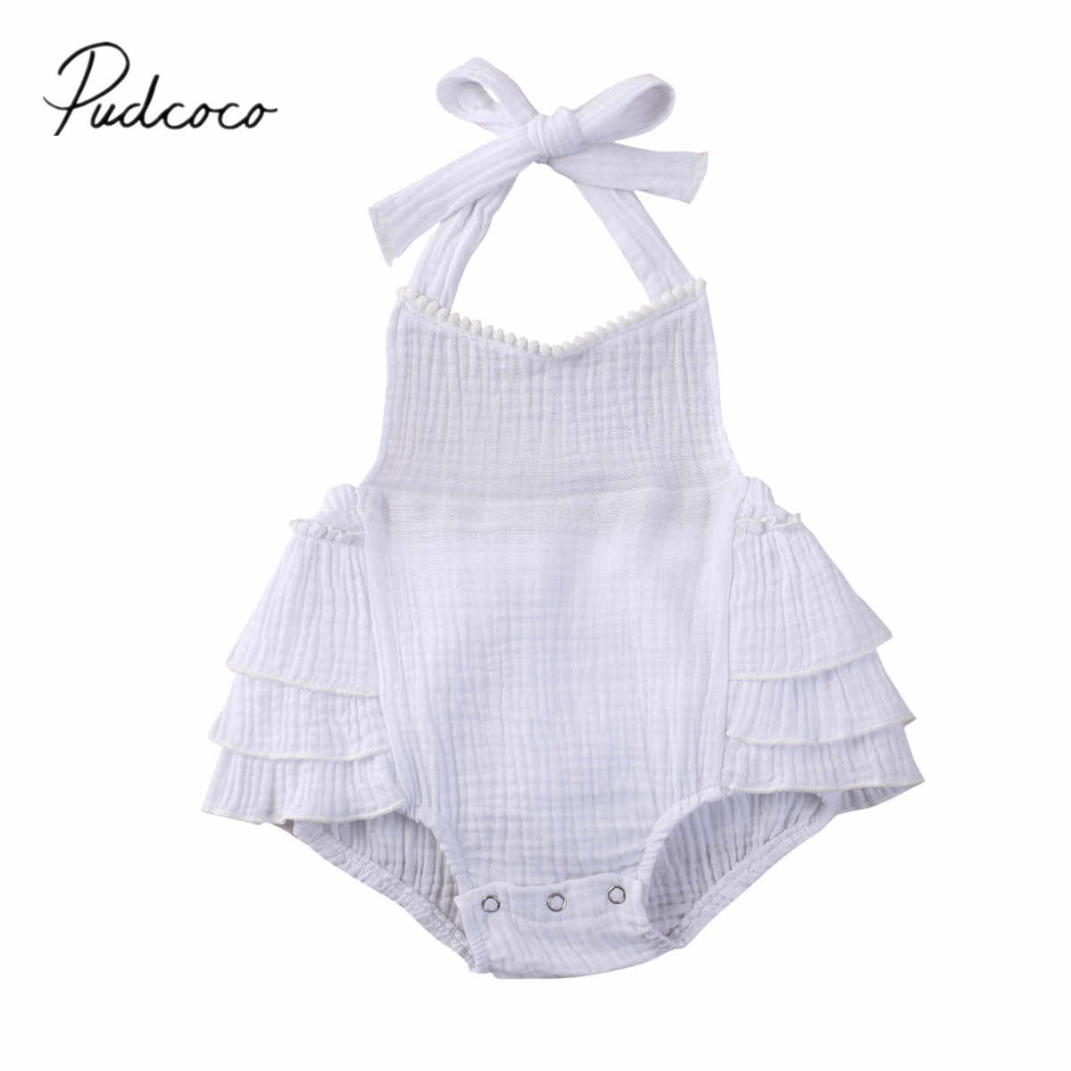 2020 Baby Summer Clothing Newborn Baby Girl Lace-up Ruffle Backless Sunsuit Bodysuit Solid White Jumpsuit Strap Outfit