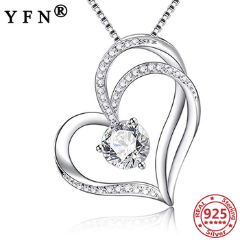 YFN 925 Sterling Silver Heart Pendant Necklaces Cubic Zircon S925 Trendy Woman's Jewelry Mother's Day Gift Valentine's Day Gifts