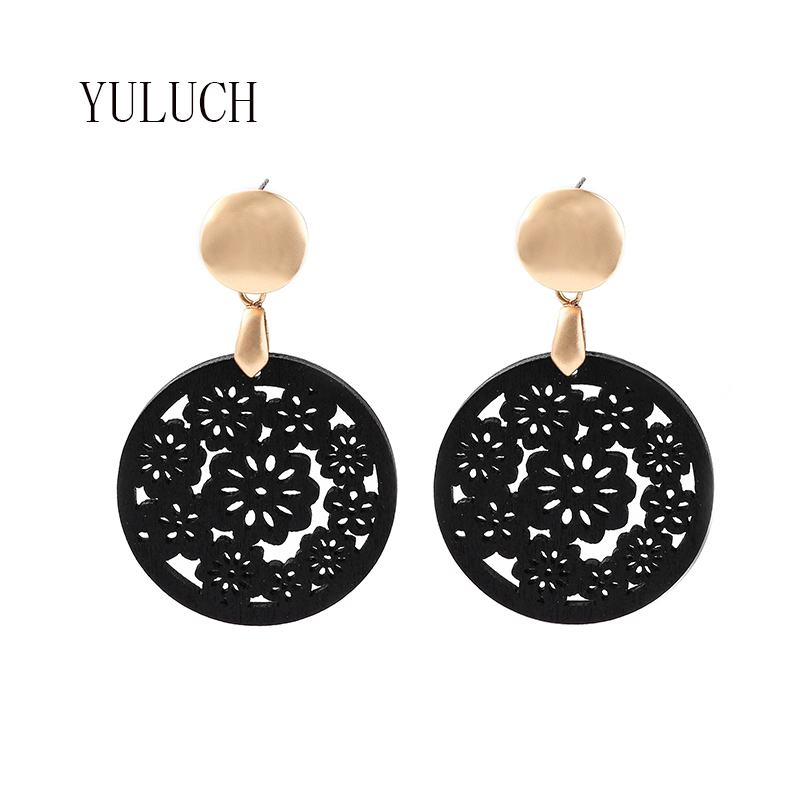 YULUCH New round wood earrings woman hollow flower earrings classic accessories girl personality jewelry birthday partyearring