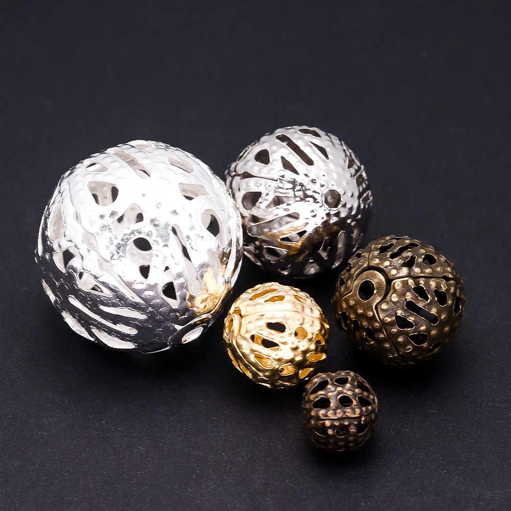 100pcs Oro Rotondi Perle di Metallo Del Distanziatore Beads End Seed Beads Hollow Branelli di Fascino Per I Braccialetti FAI DA TE Collana Monili Che Fanno commercio all'ingrosso