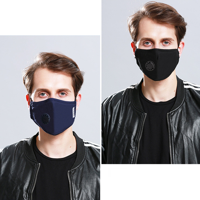 1Pcs Fashion Unisex Cotton Breath Valve PM2.5 Mouth Mask Anti-Dust Anti Pollution Mask Cloth Activated carbon filter respirator 5