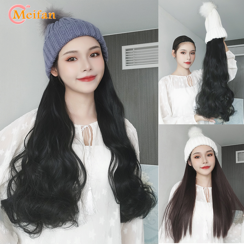 MEIFAN Fashion New Long Curly/Straight Wig With Elastic Knit Hat Wigs Heat Resistant Synthetic Natural Fake Hair Wigs For Women