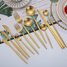 Набор столовых приборов золотистого вилки, ножи, ложки 18/10 Нержавеющаясталь ужин набор посуды, столовая ложка, вилка, Ножи палочки дозирующ...