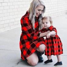 Рождественское клетчатое платье для мамы и дочки осенние женские