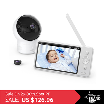 Video Baby Monitor, eufy Security Video Baby Monitor with Camera and Audio, 720p HD Resolution,110° Wide-Angle Lens Included wi fi video smart doorbell with 2 ways audio and video sensor1280 x 720 field of view180 degree video hd 720p