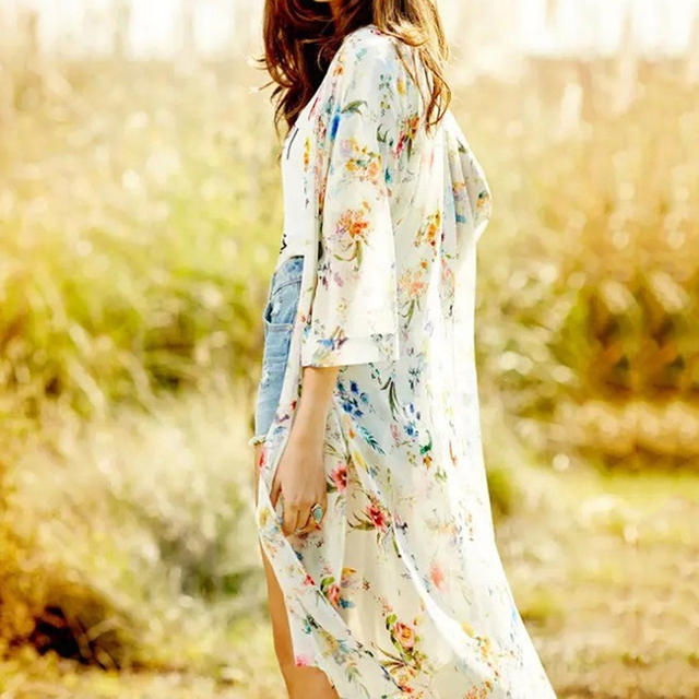 Women Vintage Floral Chiffon Shirts Small Fresh Simple Long Sunscreen Blouse Loose Shawl Kimono Cardigan Boho Tops 5