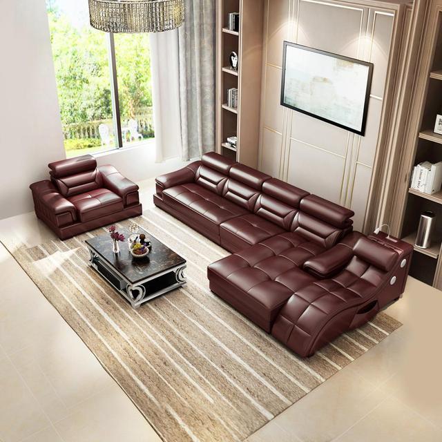Living room Sofa set диван мебель кровать muebles de sala L shape massage  leather sofa cama puff asiento sala futon 1