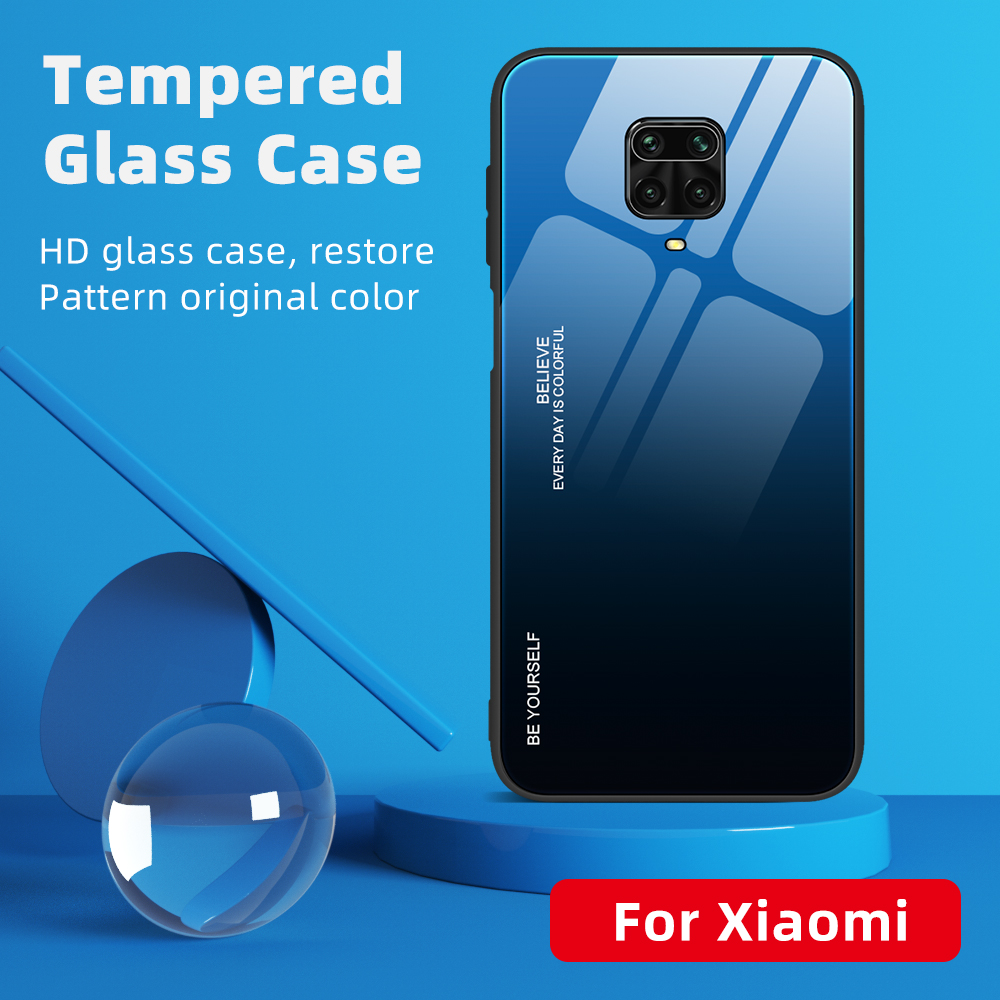 Gradient Glass Case For Xiaomi Redmi Note 9S Note 9 Pro Max Case silicone edge tempered glass back phone cover For Note 8T 8 Pro