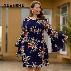 Image 5 - YUANSHU moda çiçek baskı artı boyutu elbise kadın V boyun Flare kol yüksek bel elbise parti büyük boy kadın kıyafetleri XL 4XL