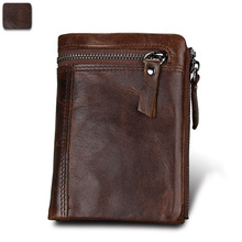 купить New Men Short Wallet Genuine Cowhide Leather Men Wallets Double Zipper Purse Coin Pockets Anti RFID Card Holders Wallet по цене 895.55 рублей