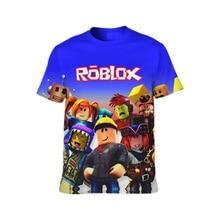 Meninas menino robloxing camiseta crianças roupas dos desenhos animados verão moda impressão 3d t-shirts para meninas punk rua legal roupas para meninos
