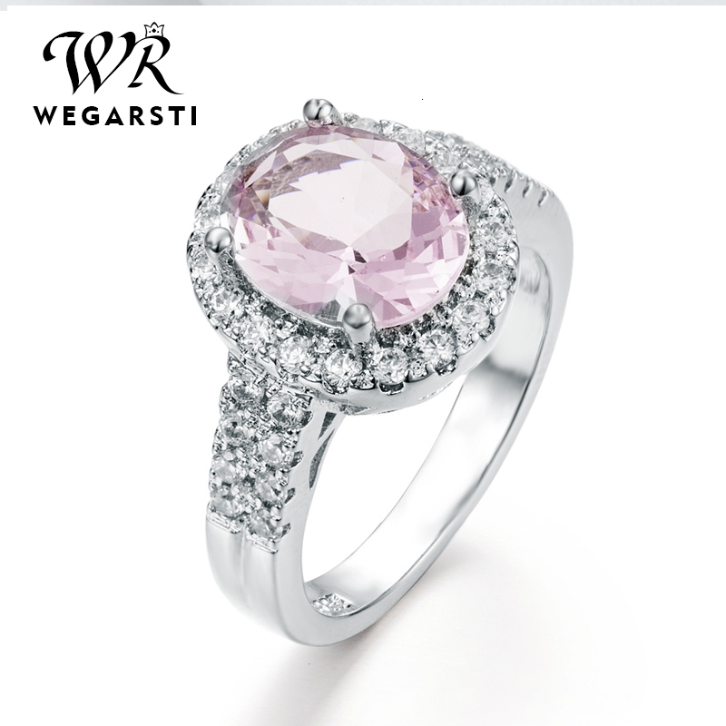 WEGARASTI Silver 925 Jewelry Ring Zircon Pink Sapphire Trendy Party Classic 925 Sterling Silver Rings Jewelry Woman Engagement