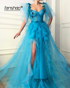 Image 1 - Blue Muslim Evening Dress Tulle Ruffles Flowers Lace Slit Illusion Islamic Dubai Saudi Arabic Evening Gown Prom Dress
