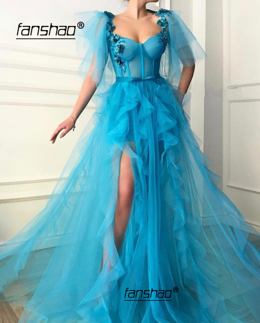 Blue Muslim Evening Dress Tulle Ruffles Flowers Lace Slit Illusion Islamic Dubai Saudi Arabic Evening Gown Prom Dress