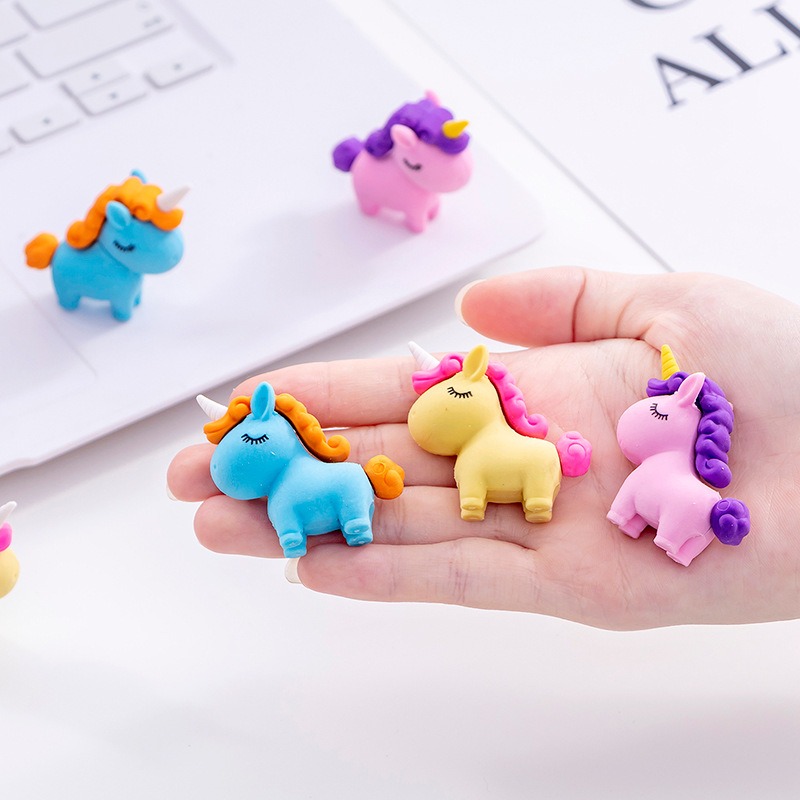 3 Pcs/lot Unicorn Eraser Cartoon Animal Writing Drawing Rubber Pencil Eraser Stationery For Kids Gifts School Suppies