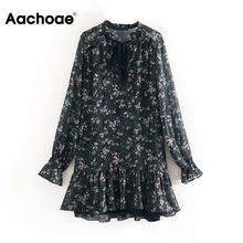 Women Ruffle Bow Tie Mini Floral Print Dress Vintage Long Sl