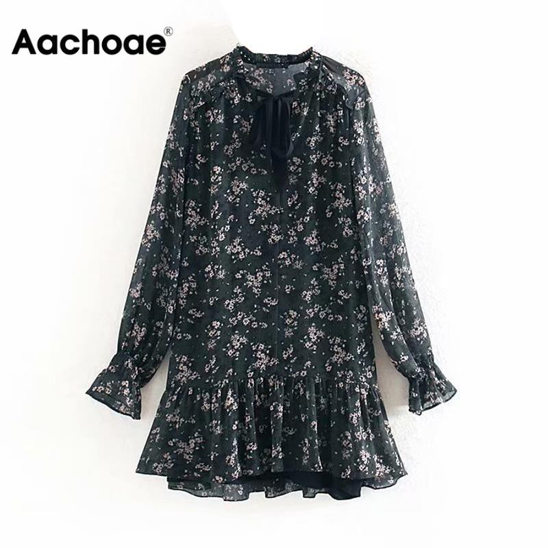 Aachoae Women Ruffle Bow Tie Mini Floral Print Dress Vintage Long Sleeve Casual Loose Pleated Dress Ruffles Party Dress Vestidos 1