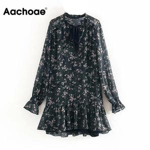 Aachoae Women Ruffle Bow Tie Mini Floral Print Dress Vintage Long Sleeve Casual Loose Pleated Dress Ruffles Party Dress Vestidos(China)
