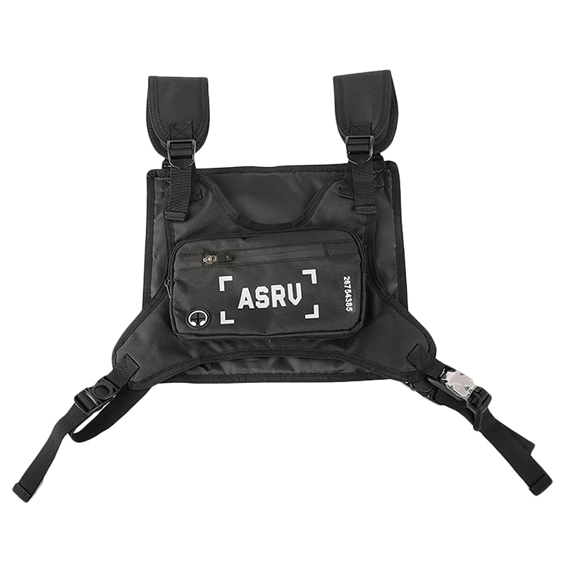 ASRV Outdoor Sports Men Chest Bag Multi-Function Waterproof Pockets Streetwear Mobile Phone Bags Small Backpack Black