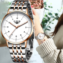 LIGE 2020 NEW Rose Gold Women Watches Luxury Watch Women