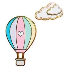 Hot Air Balloon and Cloud Hard Enamel Pin Set