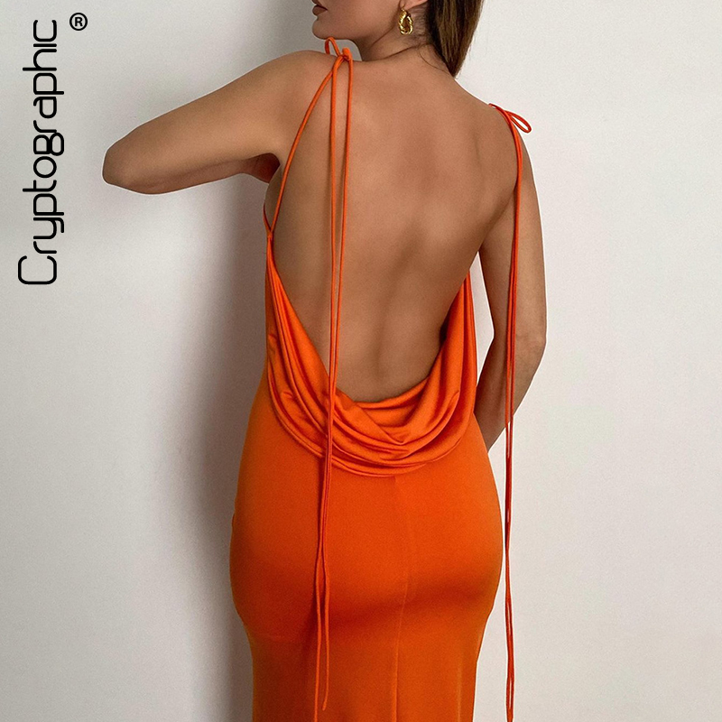 Cryptographic Elegant Spaghetti Strap Sexy Backless Draped Maxi Dress for Women Sleeveless...