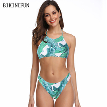 New Sexy Green Leaves Print Bikini Women Swimsuit High Neck Halter Swimwear S-L Girl Backless Bathing Suit Micro Bikini Set