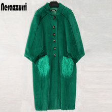 Nerazzurri Oversized green long fluffy faux fur coat women bat sleeve with mongolian fur pockets Furry coats Plus size fashion