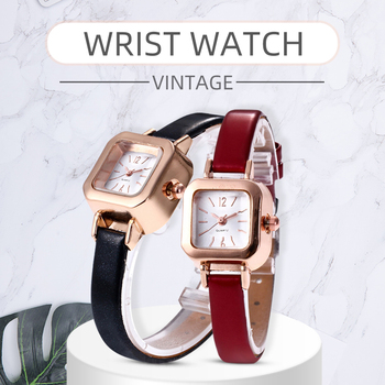 цена Mori girl Vintage Simple Square Dial Women Quartz Clock Solid Color Faux Leather Thin Band belt Strap Wrist Watch онлайн в 2017 году